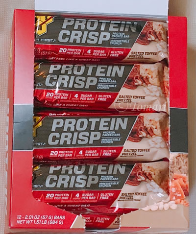 BSN Protein Crisp(プロテインクリスプ) パック入りプロテインバー 塩味タフィープレッツェル味のレビュー!【iHerb】
