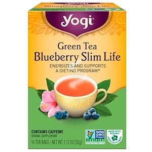 Yogi Tea 緑茶ブルーベリー スリムライフ(Green Tea Blueberry Slim Life) 16ティーバッグ 1.12オンス(32g)