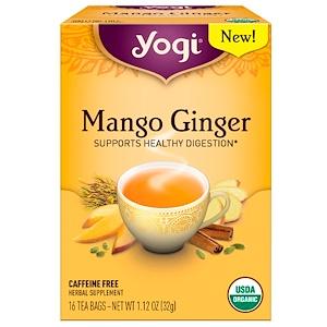 Yogi Tea マンゴージンジャー カフェインフリー ティーバッグ16袋1.12オンス (32 g)