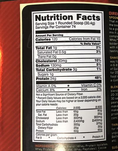 ゴールドスタンダード100%ホエイ ダブルリッチチョコレートの成分