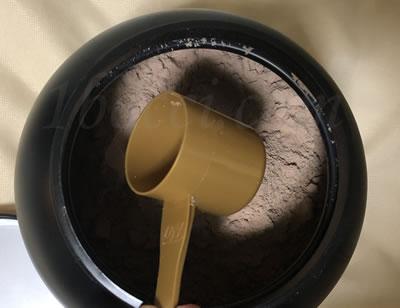 ゴールドスタンダード100%ホエイ ダブルリッチチョコレートのスクープ