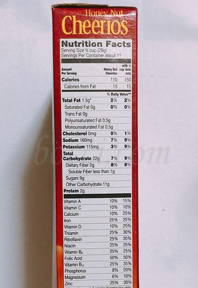 General Mills Honey Nut Cherrios(ジェネラルミルズハニーナットチーリオス)成分表