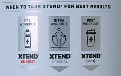 XTEND Original BCAAの飲むタイミングの記載