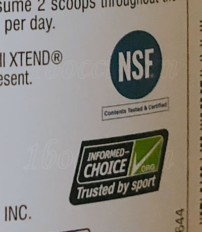 XTEND Original BCAAのレビュー:マンゴーマッドネスのINFORMED CHOICE・NSFスポーツ認定のマーク