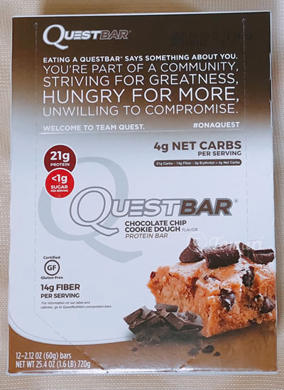 Quest Nutrition(クエストニュートリション)プロテインバーチョコレートチップ・クッキー生地味のレビュー!【iHerb】